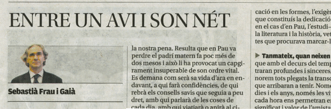 "Article Sebastià Frau ""Entre un avi i son nét"""