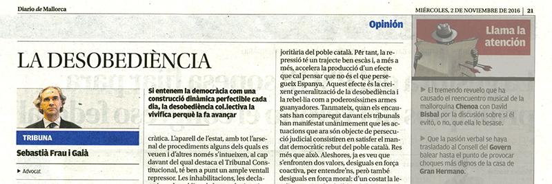 'La desobediència', de Sebastià Frau en Diario de Mallorca